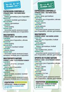 Programme des sports pour les vacances de février à Villepinte (93)