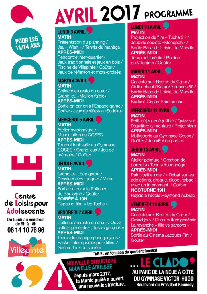 programme du Clado pour avril 2017