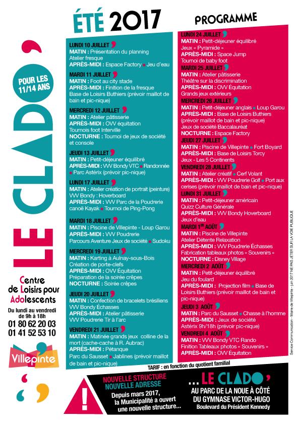 Programme du Clado de Villepinte durant les vacances d'été 2017