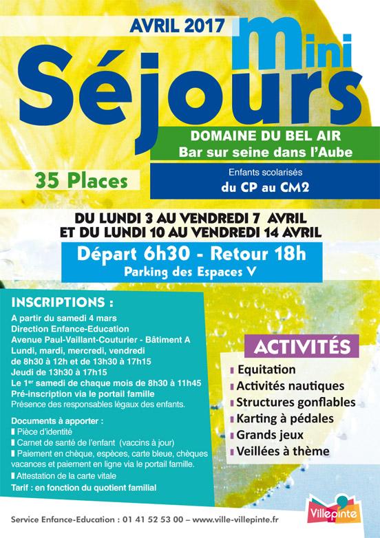 Mini-séjours Avril 2017 au Domaine du Bel-Air à Bar-sur-seine (Aube) pour les enfants du CPau CM2