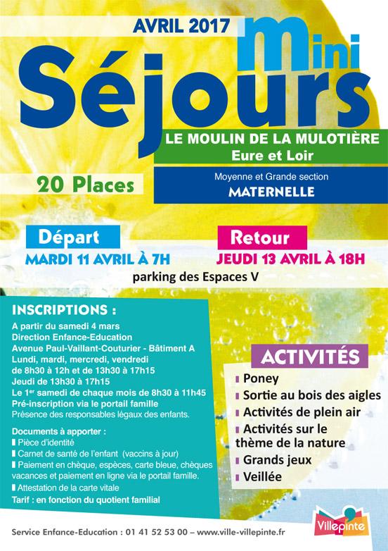 Mini-séjours Avril 2017 au Moulin de la Mulotière (Eure et Loir) pour les Moyenne et Grande section de Maternelle