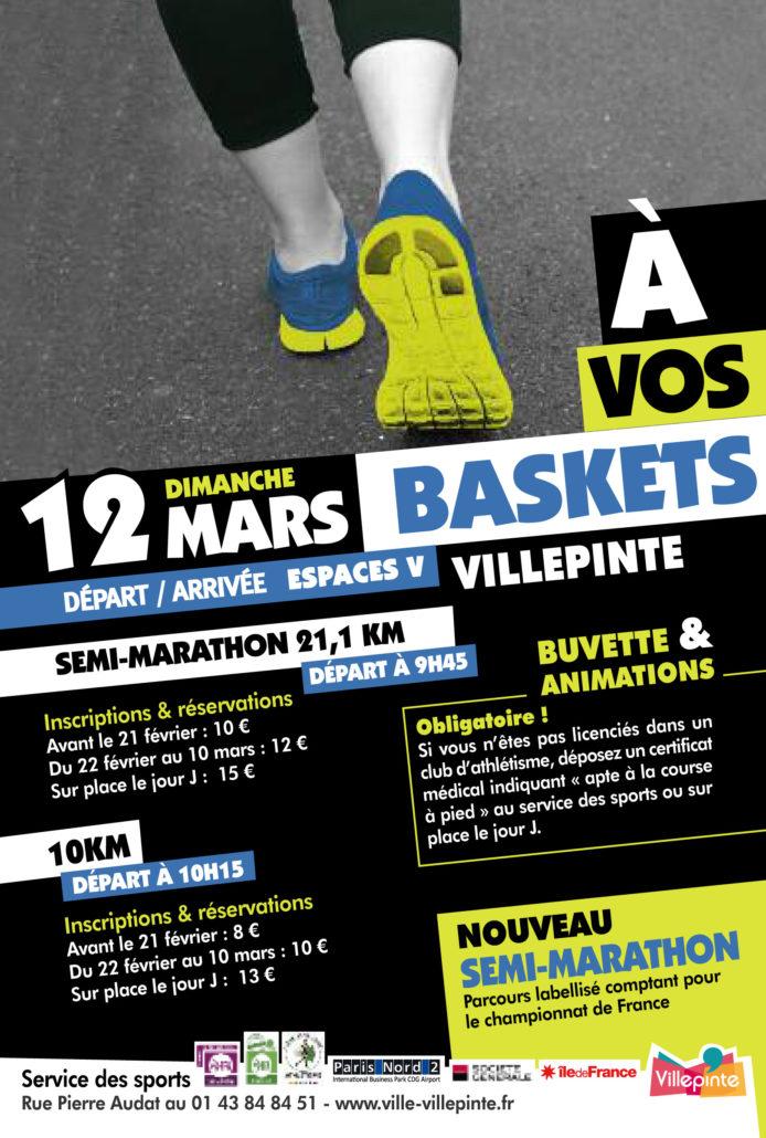 A vos baskets, le semi-marathon villepintois, dimanche 12 mars au départ des Espaces V