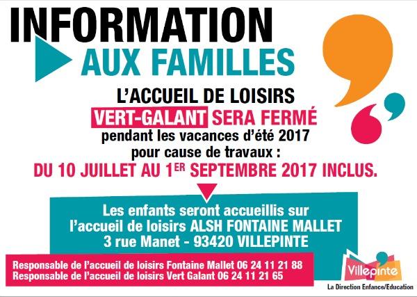 info familles ALSH - Villepinte