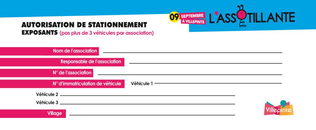 Autorisation d'entrée et de stationnement pour l'Assotillante, samedi 9 septembre 2017