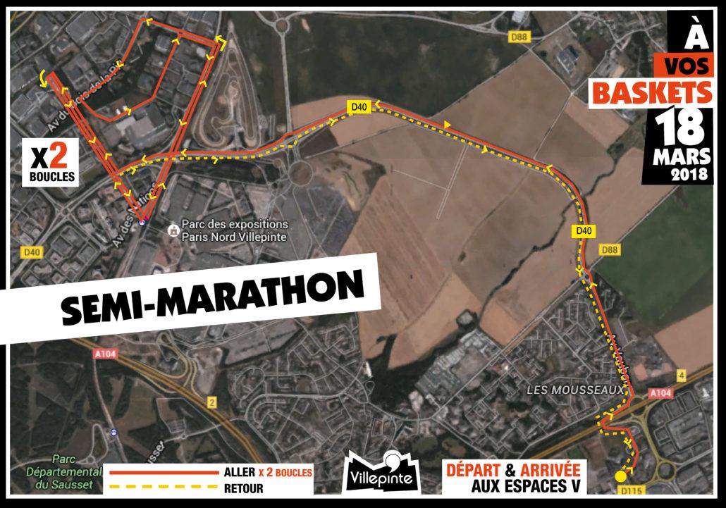 Parcours du semi-marathon d'À vos baskets - 18 mars - Villepinte