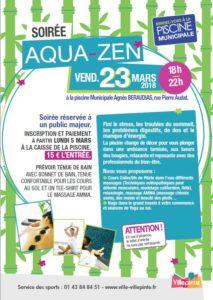 Soirée Aquazen à la piscine municipale de Villepinte vendredi 23 mars 2018 de 18 à 22 heures