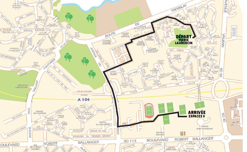 Plan du parcours du Carnaval de Villepinte du samedi 14 avril 2018