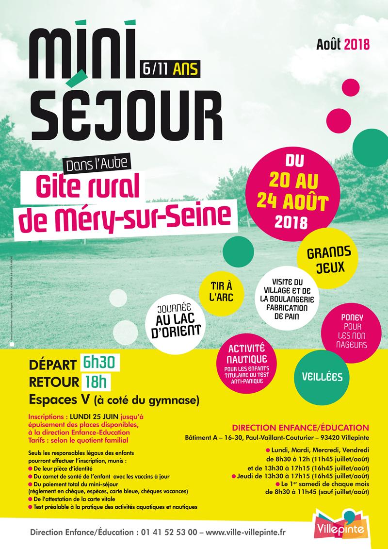 mini-séjour à la base de loisirs Daniel Bailly dans l'Yonne pour les villepintois de 6-11 ans