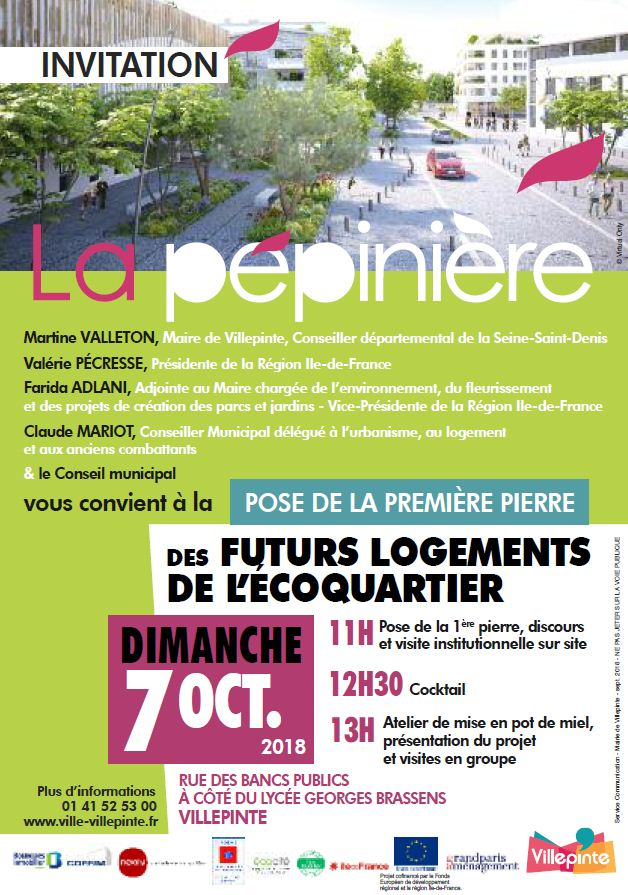 Invitation à la pose de la première pierre des futurs logements de l'écoquartier de la Pépinière àVillepinte (93)