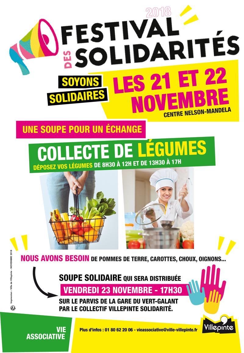 Collecte des légumes dans le cadre du Festival des Solidarités à Villepinte, les 21 et 22 novembre 2018