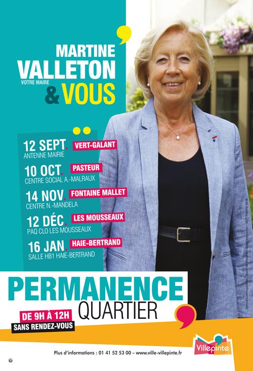 Permanences de Martine Valleton, Maire de Villepinte dans les quartiers de la ville de Villepinte