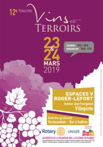 12 ème salon des Vins et Terroirs, organisé par le Rotary Club de Villepinte en collaboration avec la Ville de Villepinte, se déroulera le samedi 23 mars de 10 à 20 heures et le dimanche 24 mars de 10 à 17 heures aux Espaces V Roger-Lefort