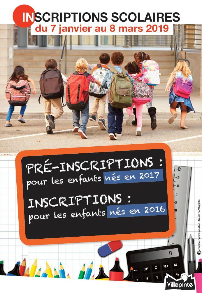 Inscriptions scolaires pour les enfants nés en 2016 et pré-inscriptions pour les enfants nés en 2017 du 7 janvier au 8 mars 2019 à Villepinte (93)