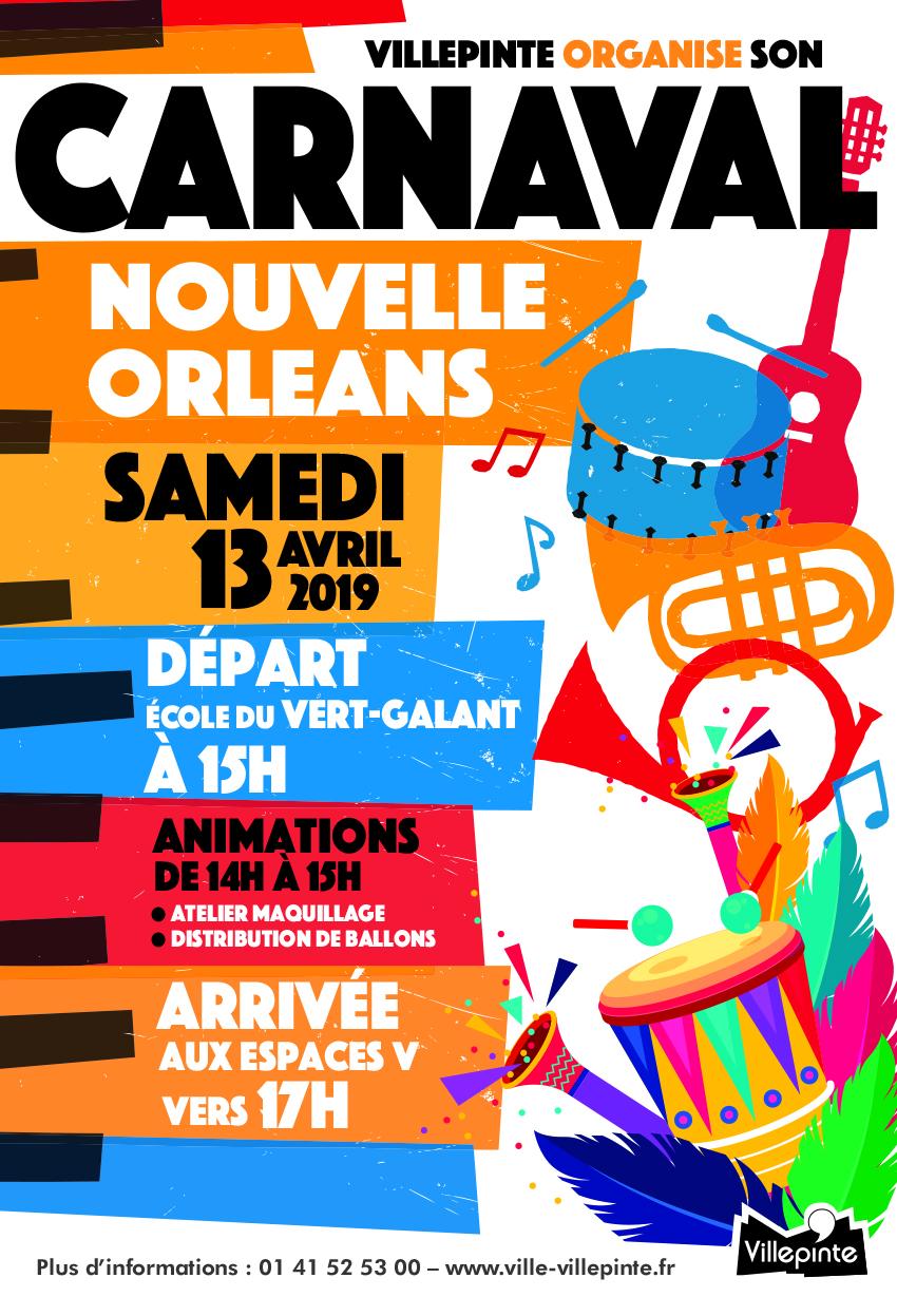 Carnaval de Villepinte 2019 , sous le signe de la Nouvelle Orléans. Samedi 13 avril, venez fêter le carnaval de 15 à 18 heures !