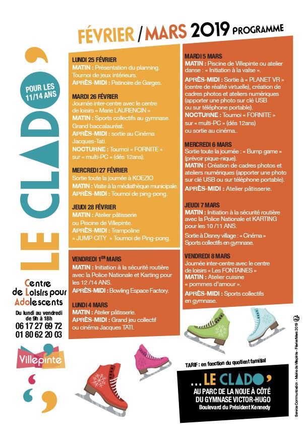 Programme du Clado pour les vacances de février 2019