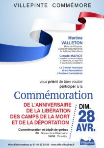 comméoration de l'anniversaire de la libération des camps de la mort et de la déportation à Villepinte, dimanche 28 avril 2019