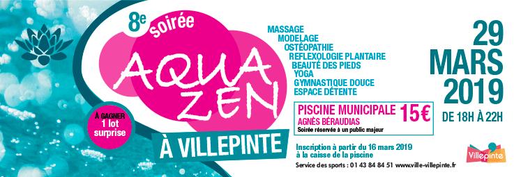 Soirée Aquazen à la piscine municipale de Villepinte, vendredi 29 mars 2019 de 18 à 22 heures