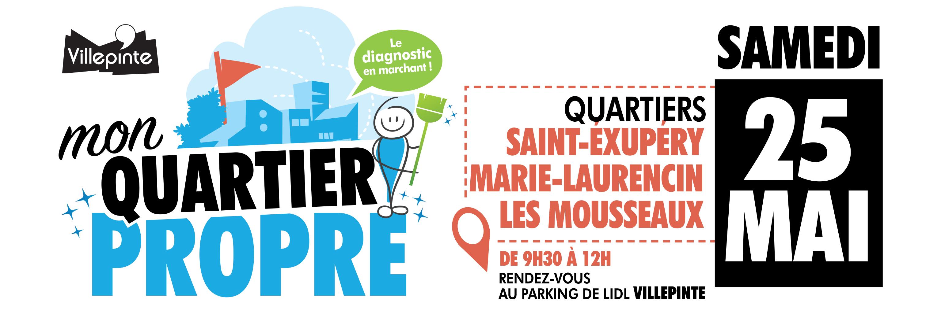 Opération propreté dans la ville de Villepinte de mai à juin 2019 - 25 mai aux Mousseaux / Saint-Exupéry / Marie-Laurencin