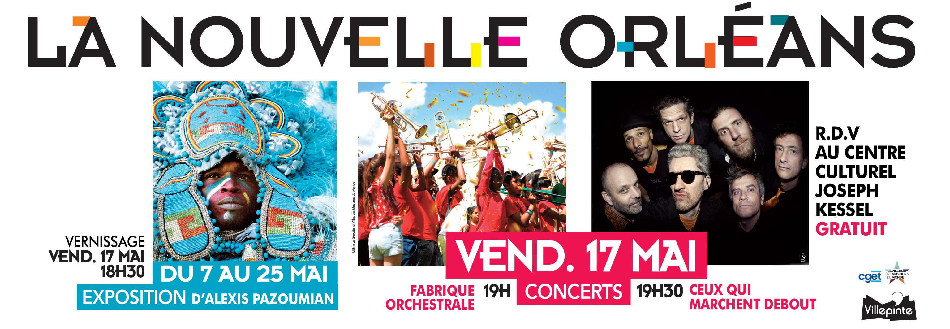 Concerts des Fabriques Orchestrales Junior de Villepinte et de la fanfare Funk Ceux Qui Marchent Debout vendredi 17 mai à Villepinte. Expo photo d'Alexis Pazoumian