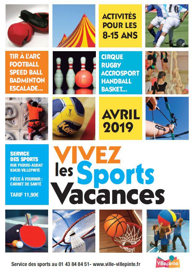 Programme des Sports Vacances du 23 au 26 avril et du 29 avril au 3 mai 2019 à Villepinte (93)