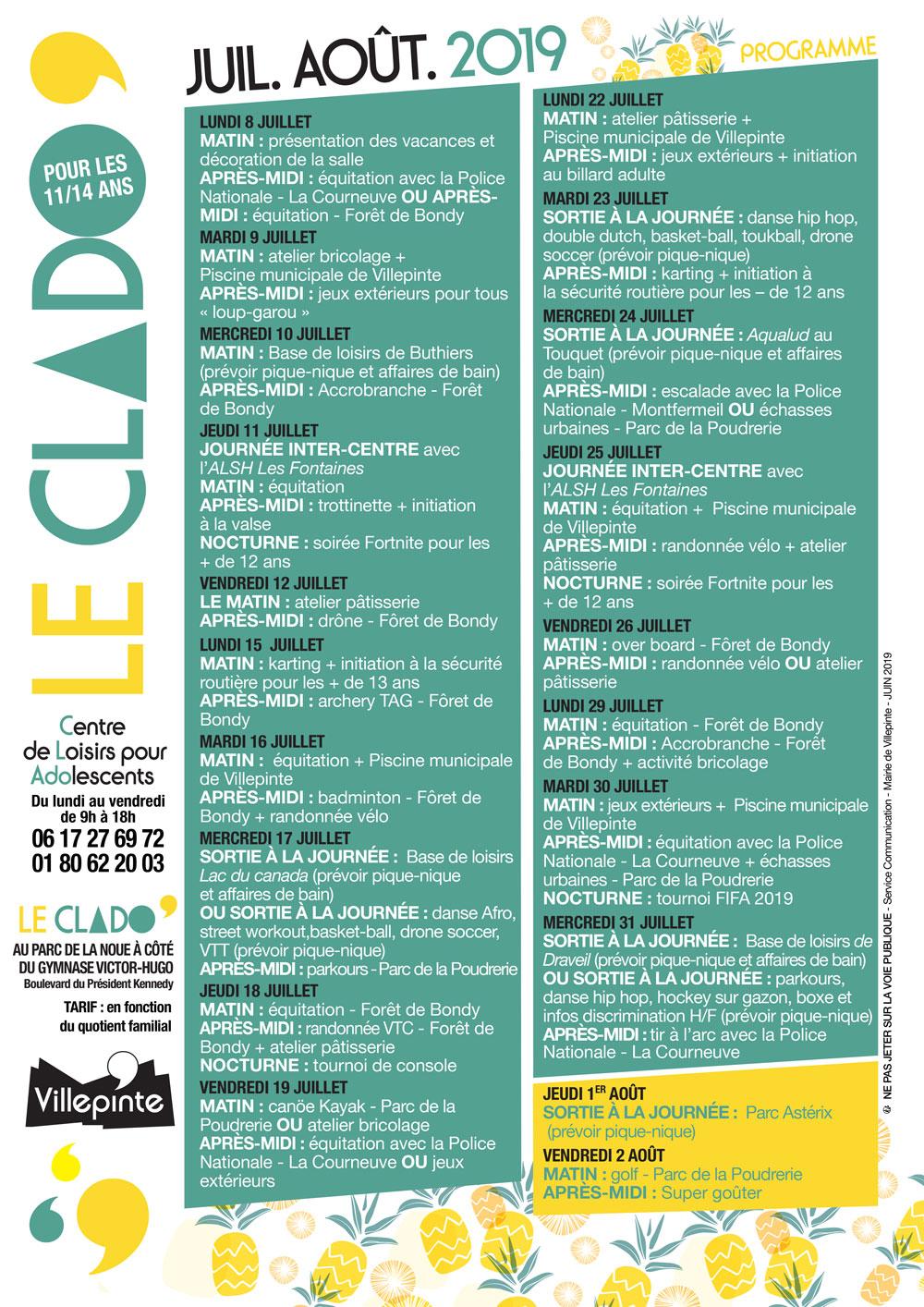 programme du Clado de Villepinte durant les vacances d'été 2019