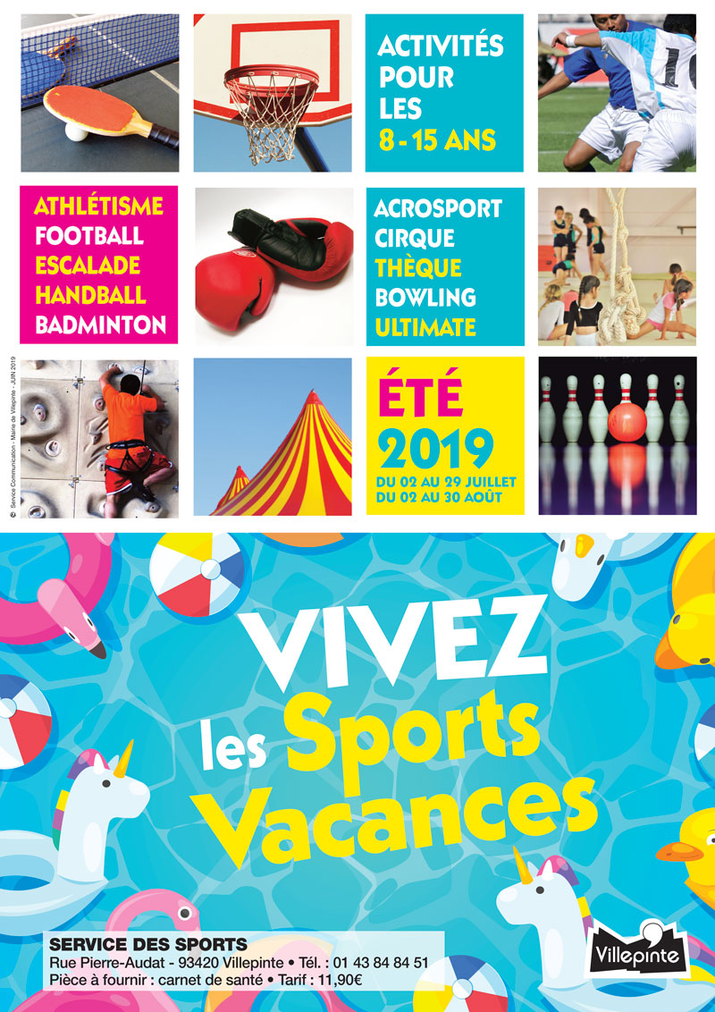 programme des activités sportives proposées par le service des sports de Villepinte pour l'Eté 2019