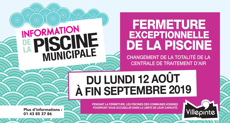Fermeture exceptionnelle de la piscine municipale de Villepinte du 12 août à fin septembre 2019
