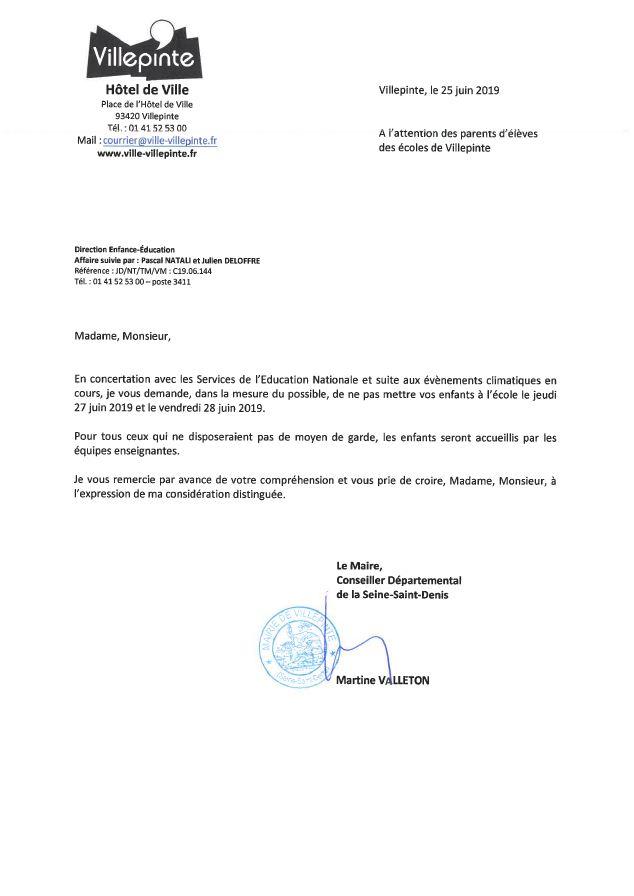 Martine Valleton demande aux parents de laisser leurs enfants à la maison, jeudi 27 et vendredi 28 juin à cause de la canicule