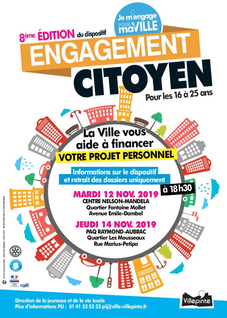 Réunions d'information pour le dispositif de l'Engagement citoyen à Villepinte, mardi 12 et jeudi 14 novembre 2019
