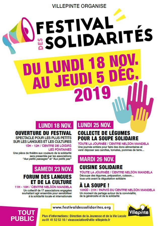 Festival des solidarités à Villepinte du 18 novembre au 5 décembre 2019