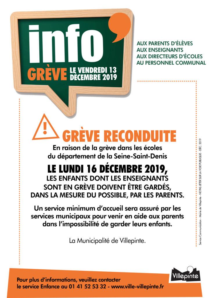 Grêve reconduite lundi 16 décembre àVillepinte