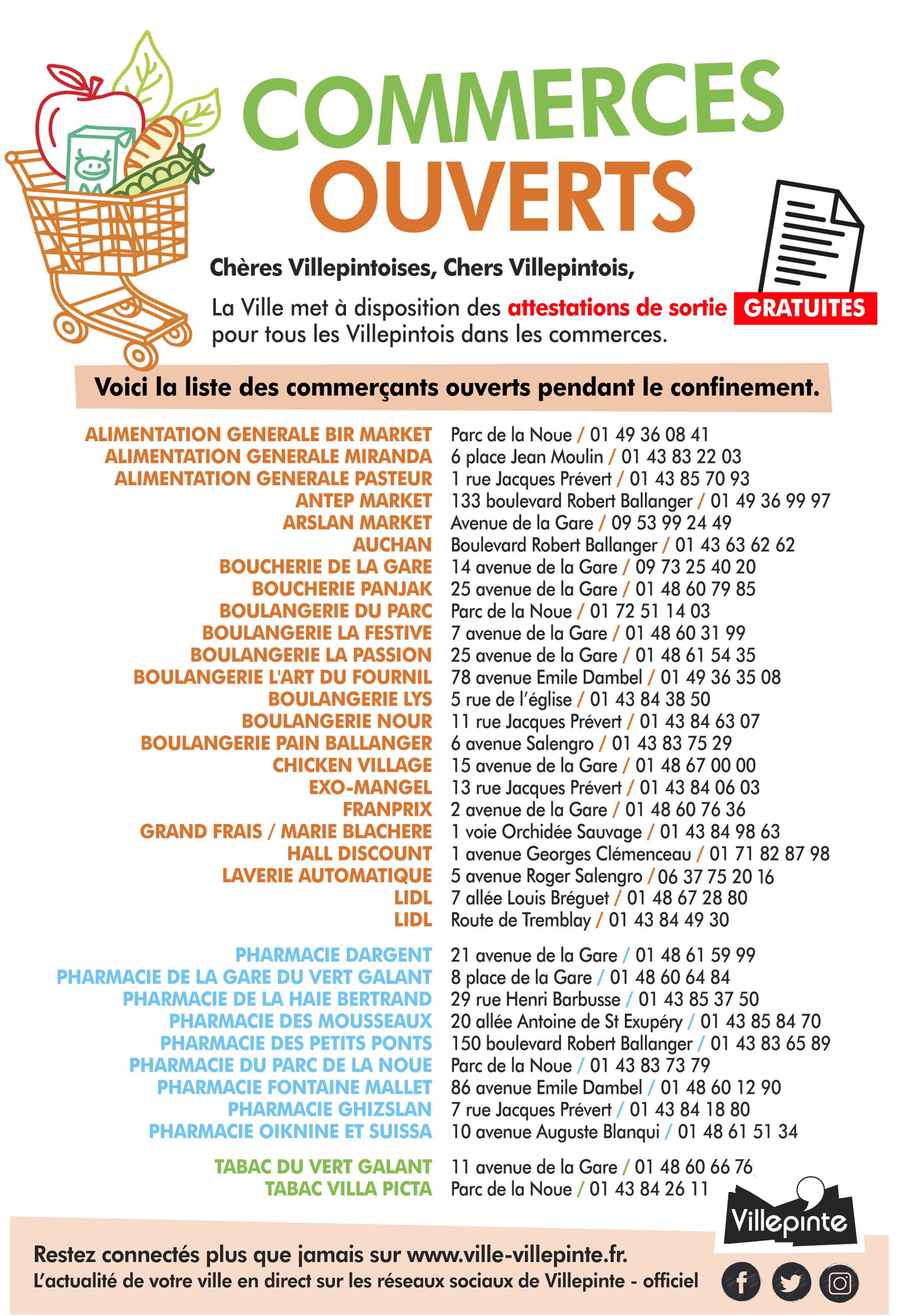 liste de tous les commerces villepintois ouverts durant la crise du Coronavirus