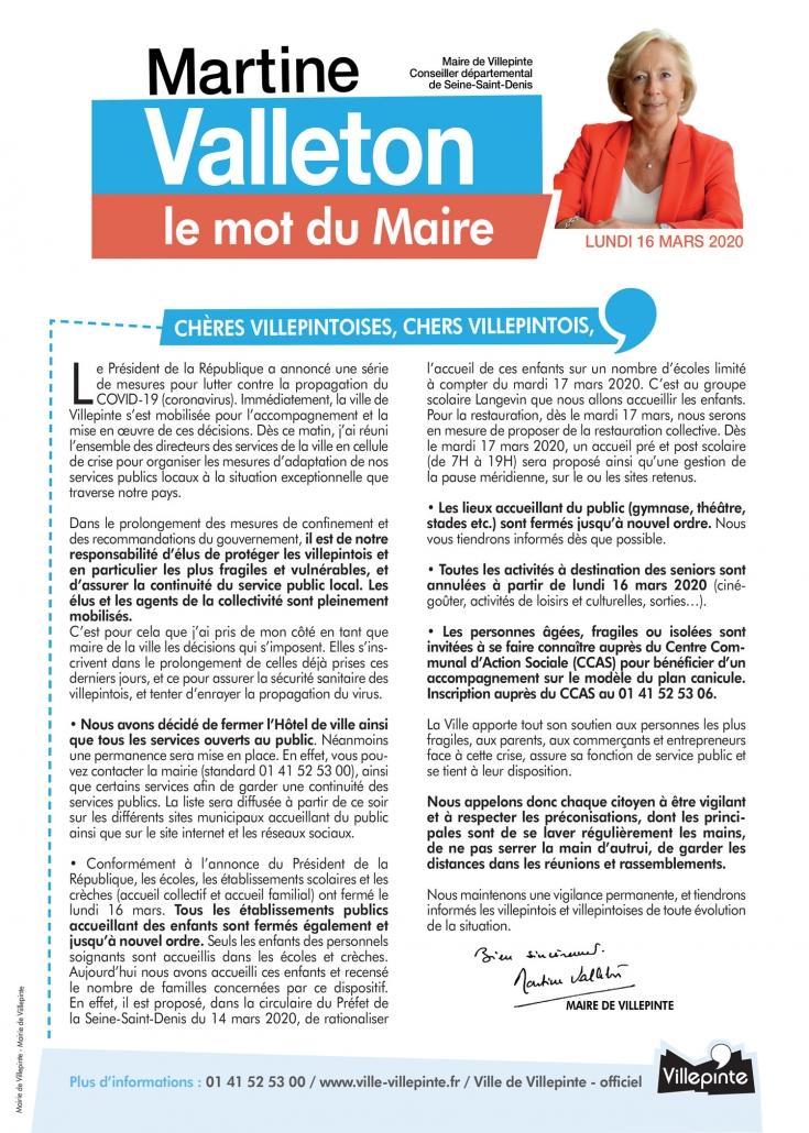Mot du Maire sur la fermeture des Services publics de Villepinte