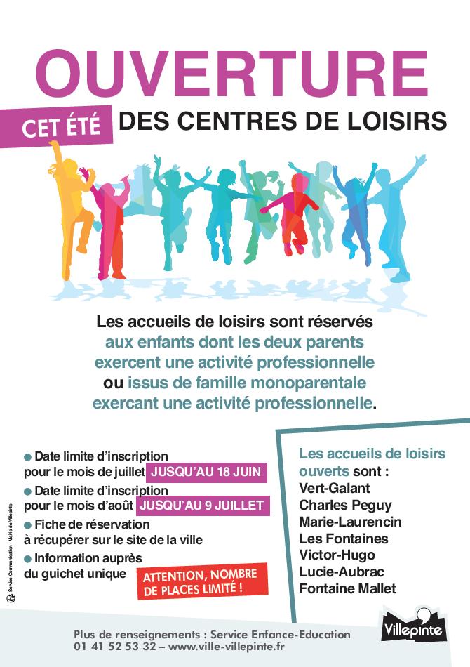 Inscriptions aux accueils de loisirs été 2020 à Villepinte (93)