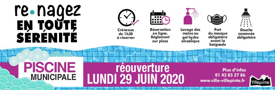 Re-nagez en toute sécurité à partir du 29 juin à la piscine municipale de Villepinte