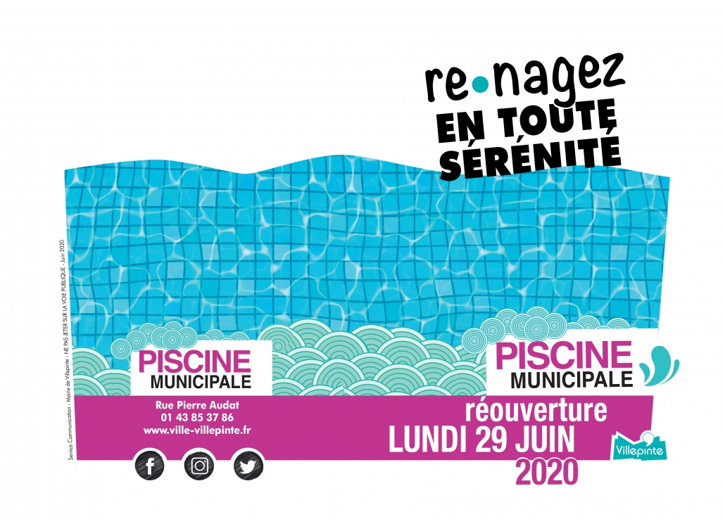 Réouverture de la piscine municipale lundi 29 juin 2020 à Villepinte