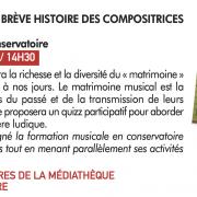 Conférence sur la brève histoire des compositrices, samedi 23 janvier 2021, à la salle des rencontres de la médiathèque de Villepinte (93)