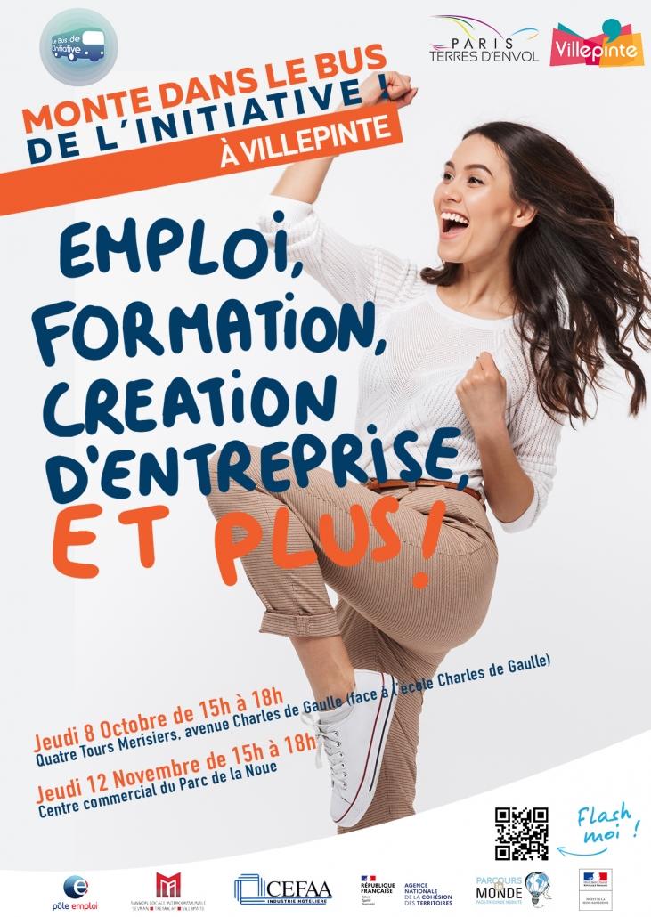 Bus de l'initiative à Villepinte pour l'emploi, la formation et la création d'entreprise.