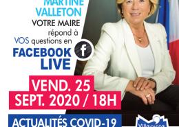 Facebook live vendredi 25 septembre 2020 à 18 heures à Villepinte