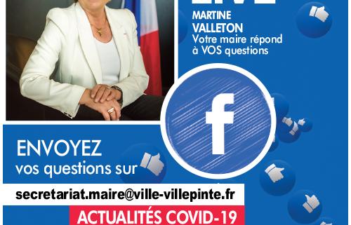 Facebook live les vendredi 9 et 23 octobre 2020 à 18 heures sur la page officielle du facebook de la mairie de villepinte (93)