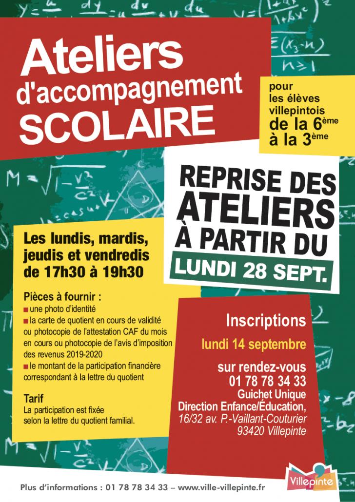 Atelier d'accompagnement scolaire à Villepinte (93)