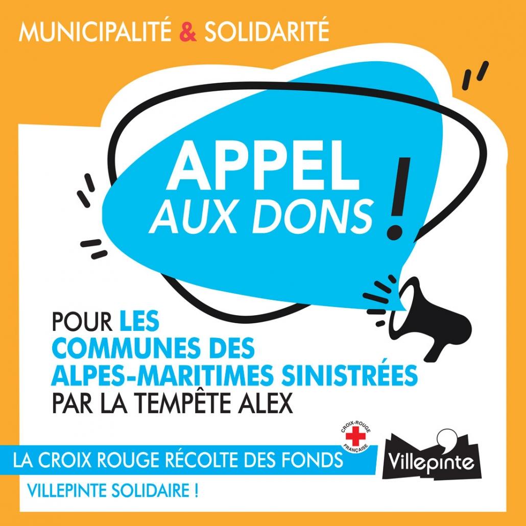 La Ville de Villepinte est solidaire de l'appel aux dons de la Croix Rouge pour les communes des Alpes-Maritimes sinistrées par la tempête Alex.