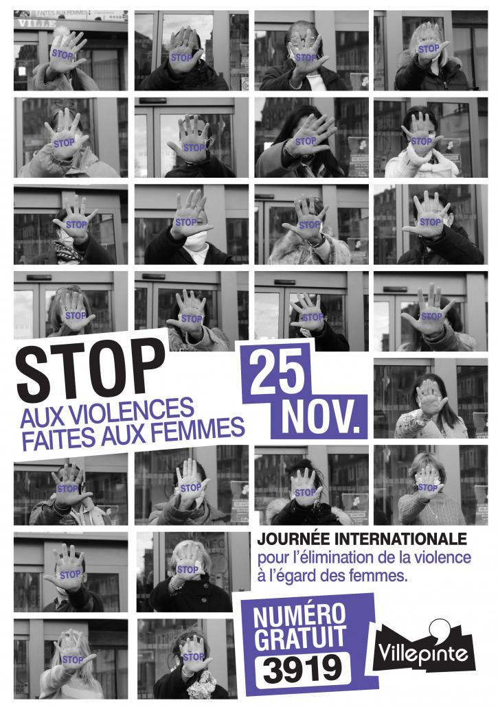 Journée de l'élimination de la violence faite aux femmes à Villepinte, le 25 novembre 2020