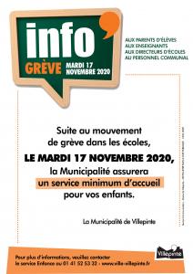 Grève dans les écoles villepintoises mardi 17 novembre, un service minimum est assuré.