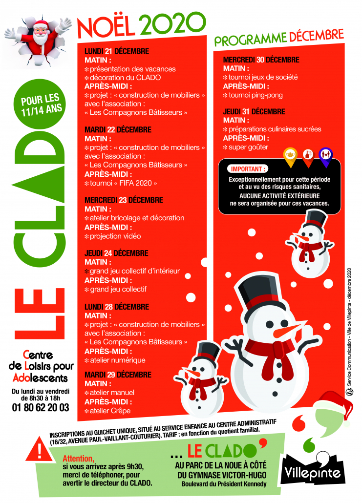 Programme du Clado pour les vacances de Noël 2020 à Villepinte (93)