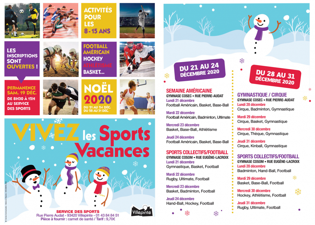 programme de Sports Vacances - Noel 2020 -Villepinte (93)