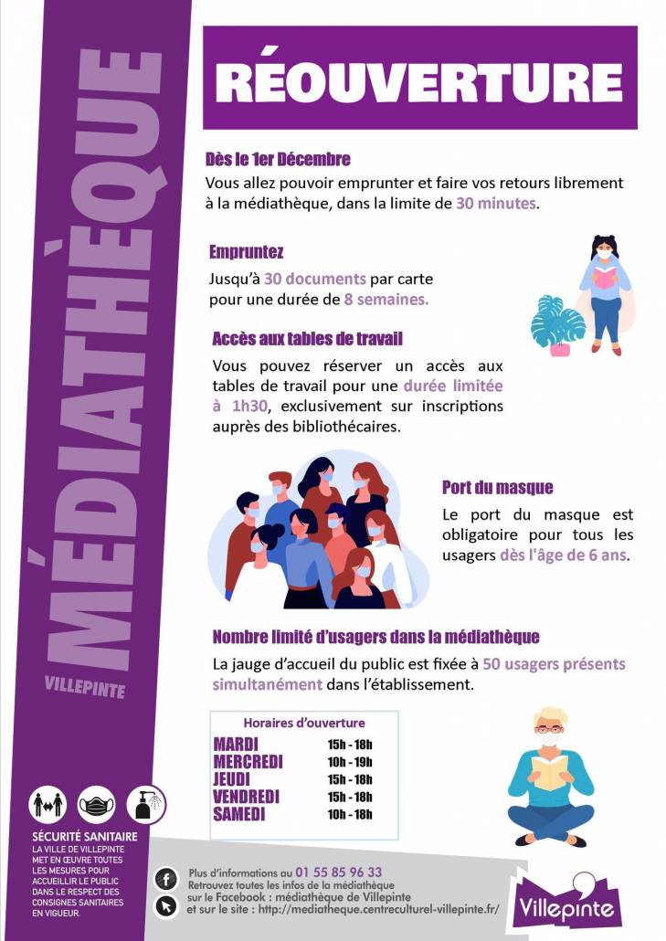 Ouverture de la médiatheque au 1er décembreOuverture de la médiathèque de Villepinte au 1er décembre 2020 2020
