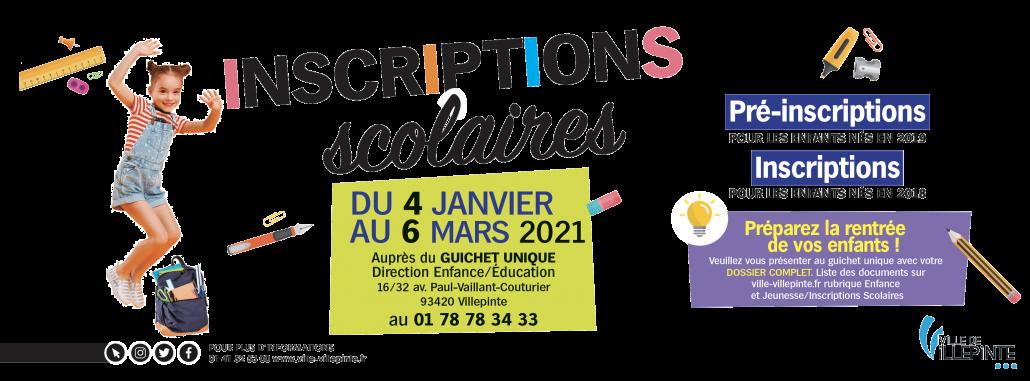 Inscriptions scolaires 2021 à Villepinte (93)
