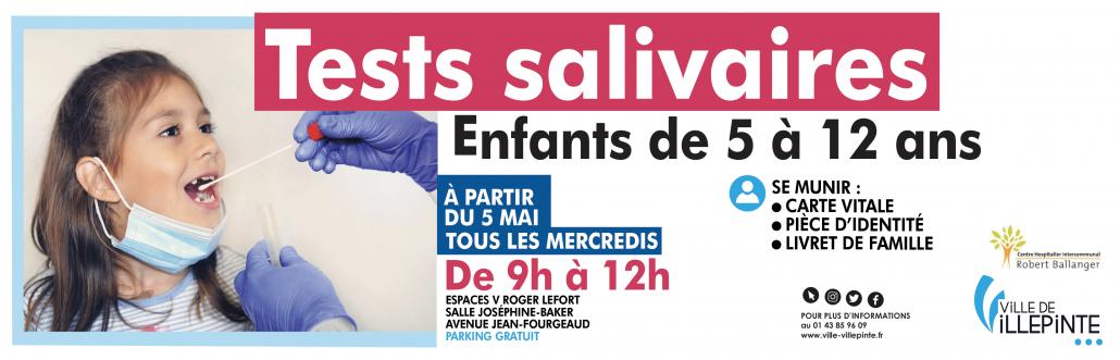 Tests salivaires pour les enfants de 5 à 12 ans aux Espaces V de Villepinte (93) à partir du 5 mai et jusqu'à fin juin