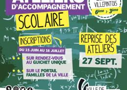 Inscriptions aux ateliers d'accompagnement scolaire du 15 juin au 16 juillet 2021